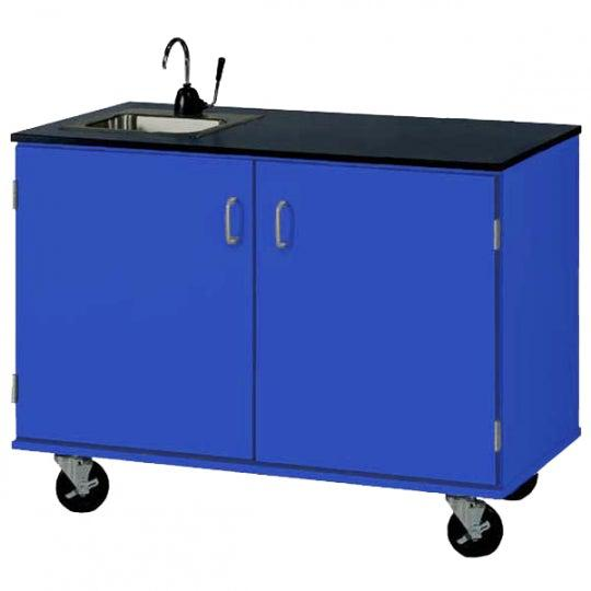 48″ Wide Basic Mobile Demonstration Station With Sink, Lockable