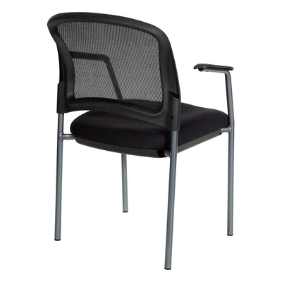 ProGrid® Mesh Back Titanium Finish Stacking Visitor's Chair with Arms