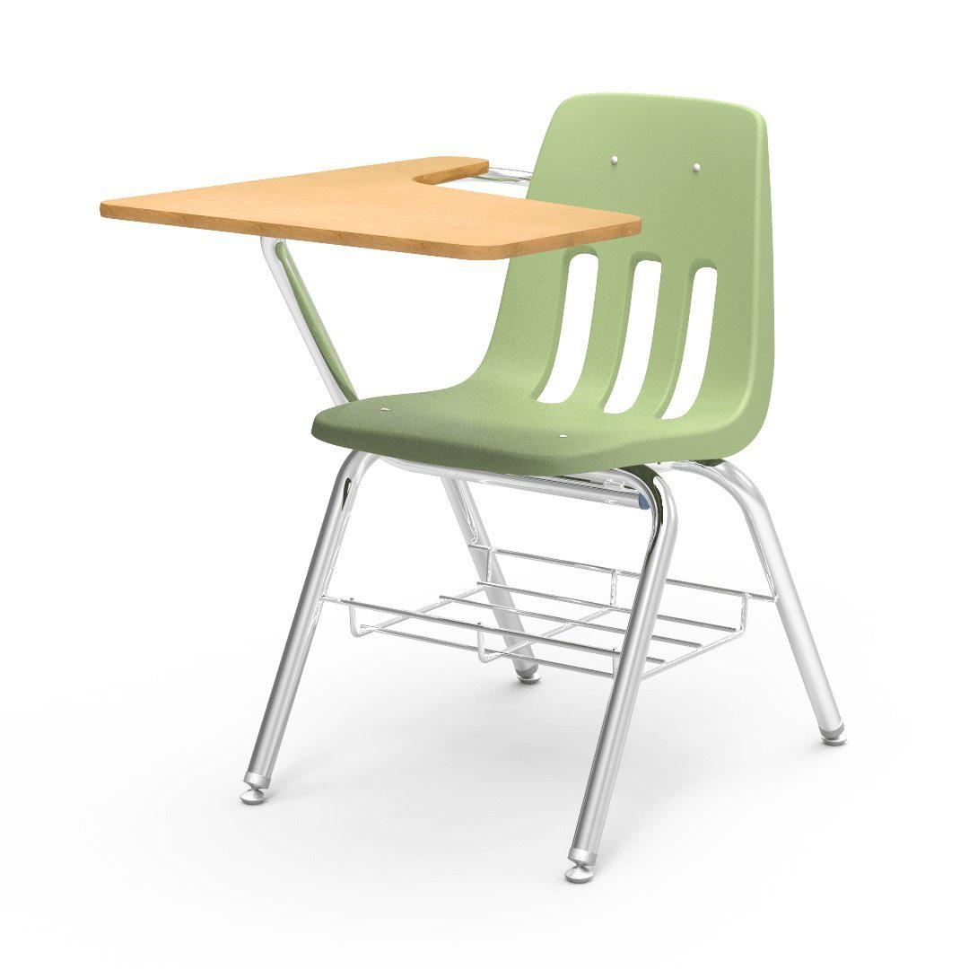 9000 Series Chair Desk with Tablet Arm Top-Desks-Green Apple-Fusion Maple-