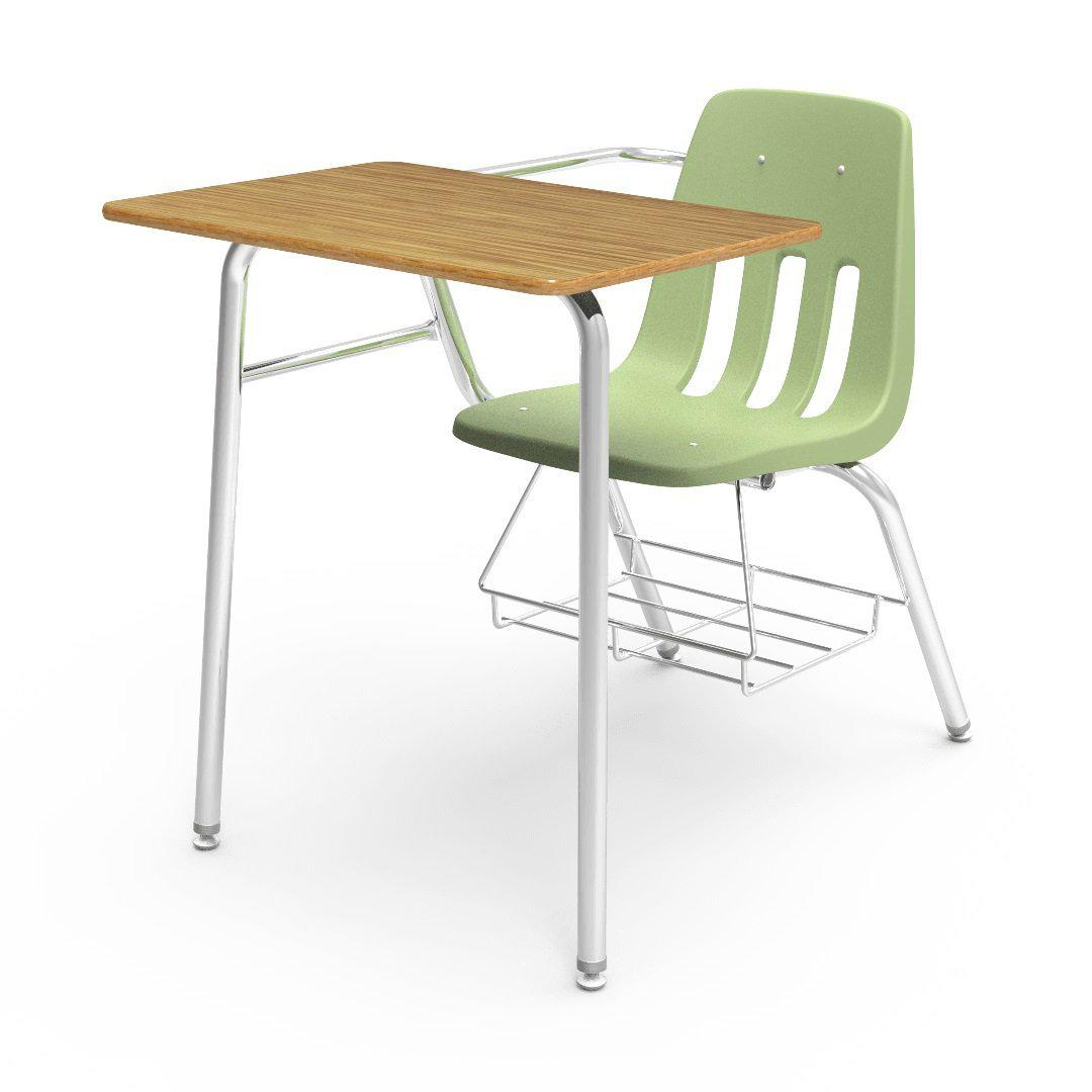 "9000 Series Combo Unit with 18"" x 24"" Top-Desks-Green Apple-Medium Oak-"