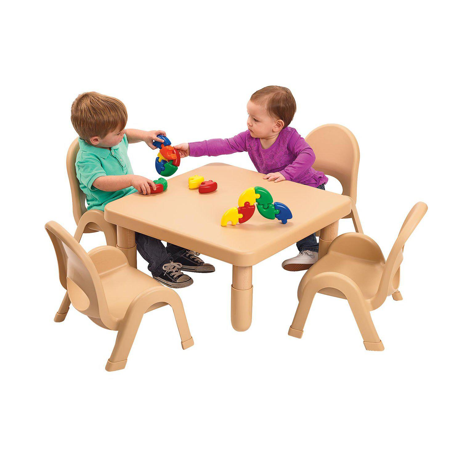 "Toddler MyValue™ Table and Chair Set - 28"" Square x 12""-High Natural Tan Table with 4 Matching 5""-High Chairs"