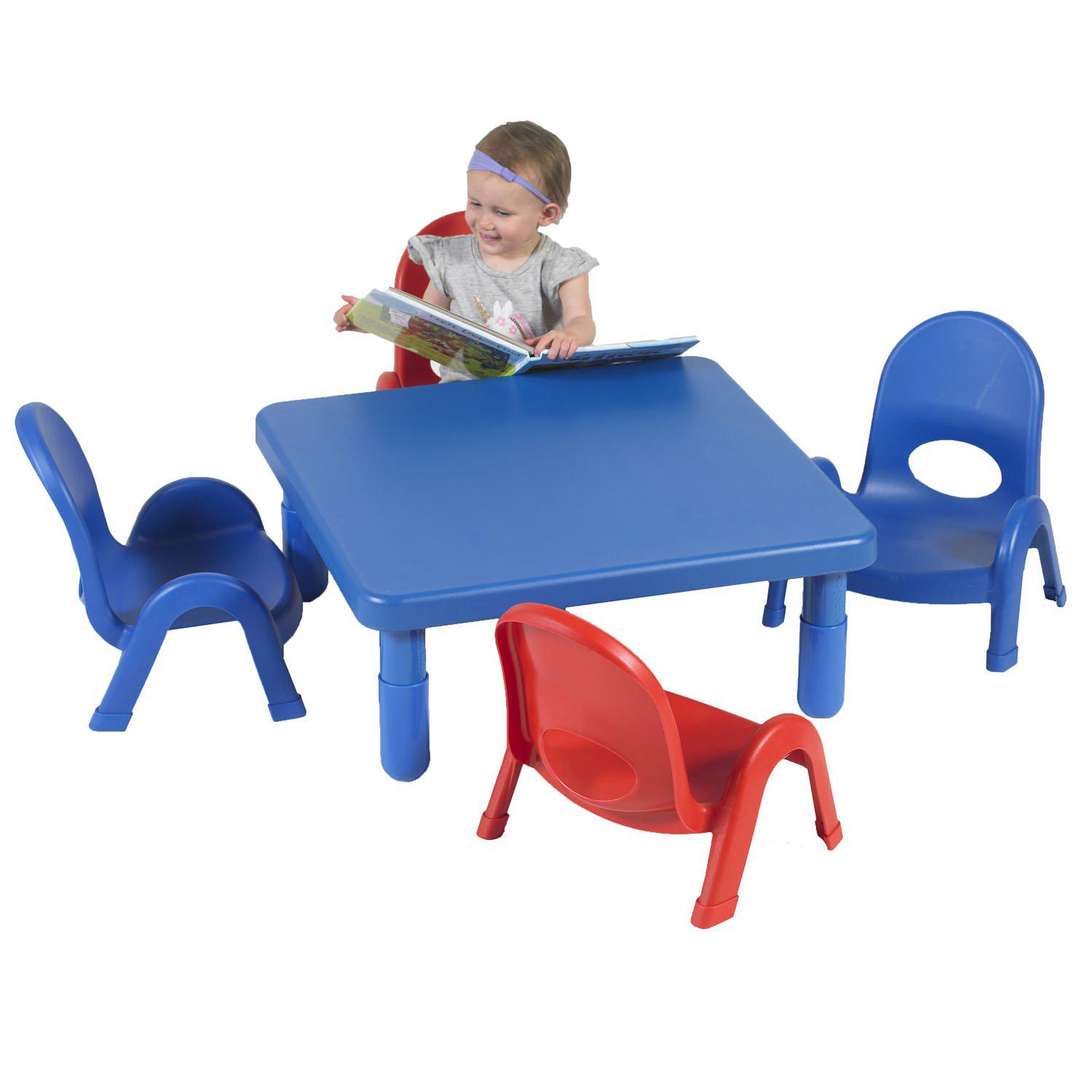 "Toddler MyValue™ Table and Chair Set - 28"" Square x 12""-High Royal Blue Table with 2 Royal Blue and 2 Candy Apple Red 5""-High Chairs"