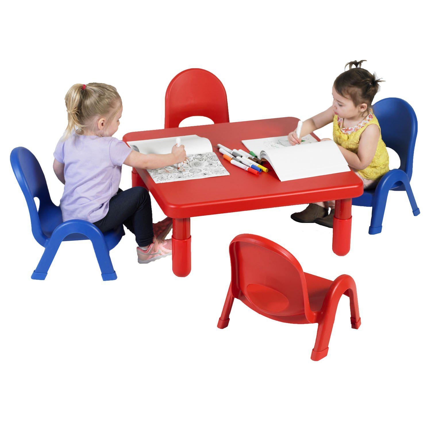 "Toddler MyValue™ Table and Chair Set - 28"" Square x 12""-High Candy Apple Red Table with 2 Royal Blue and 2 Candy Apple Red 5""-High Chairs"