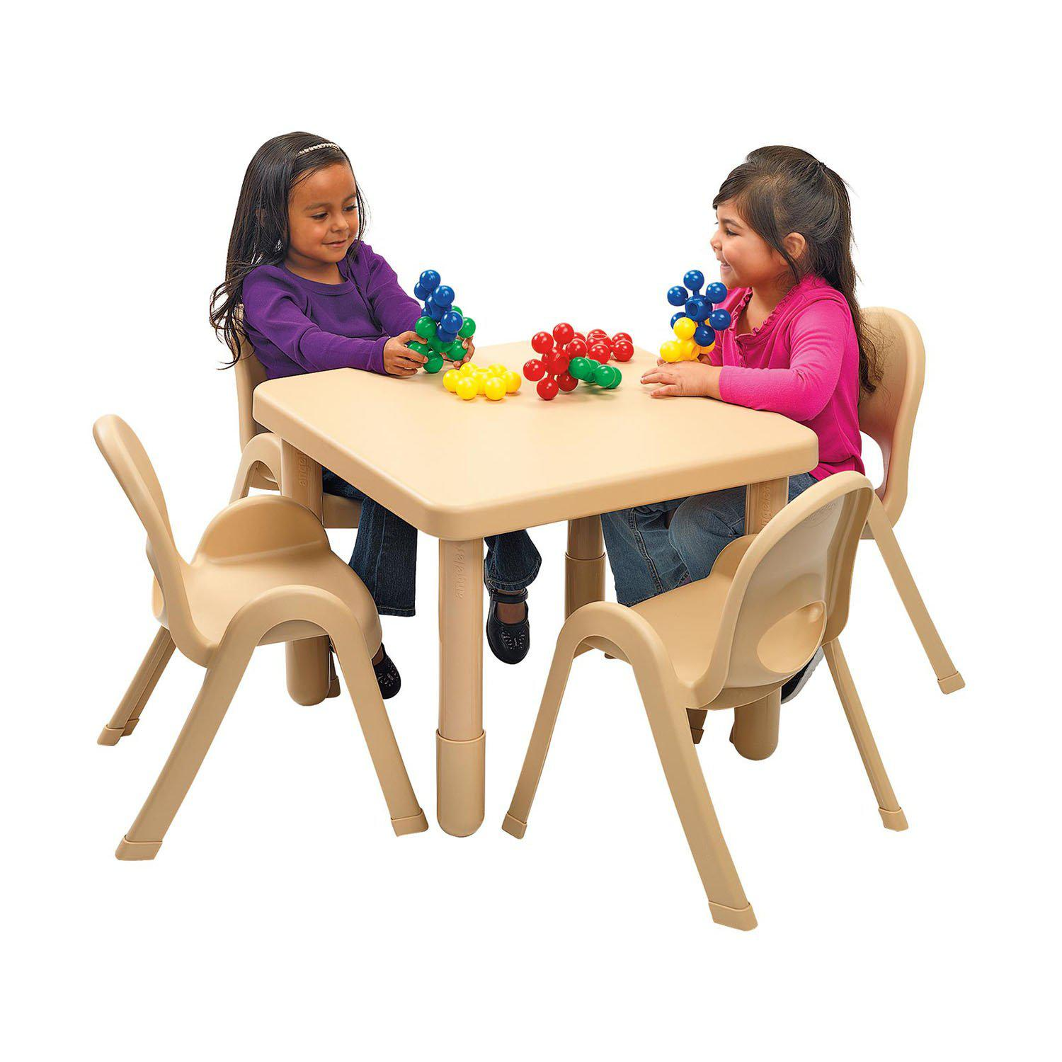 "Toddler MyValue™ Table and Chair Set - 28"" Square x 20""-High Natural Tan Table with 4 Matching 11""-High Chairs"