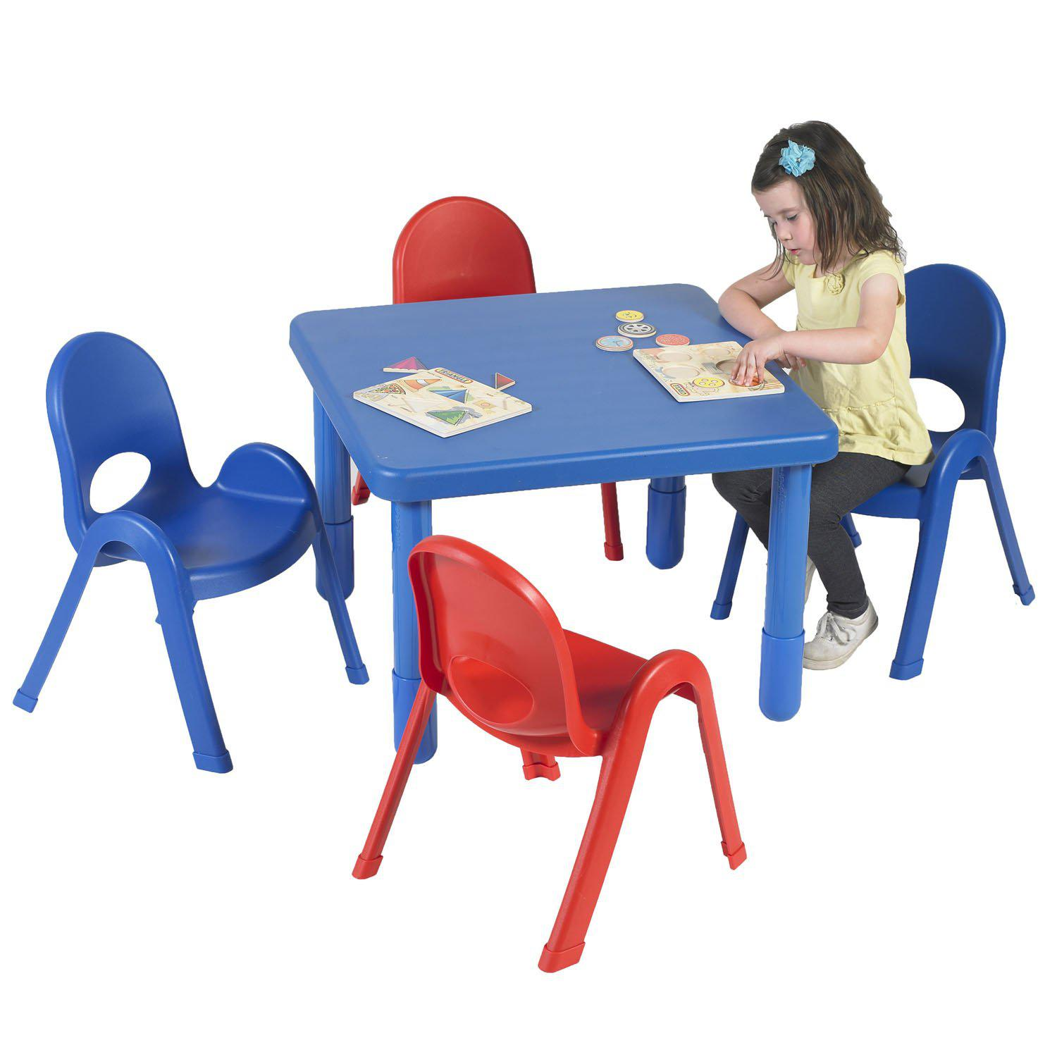 "Toddler MyValue™ Table and Chair Set - 28"" Square x 20""-High Royal Blue Table with 2 Royal Blue and 2 Candy Apple Red 11""-High Chairs"