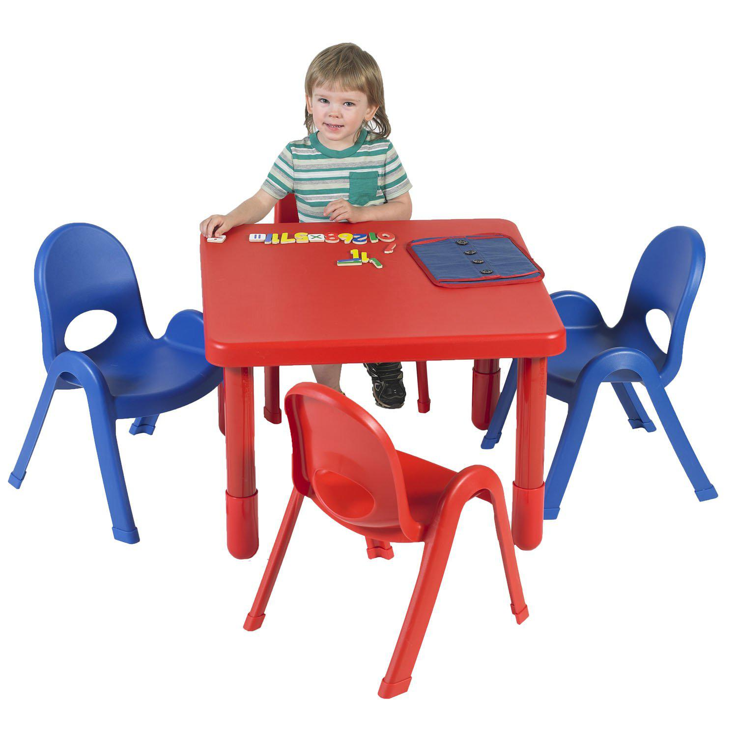 "Toddler MyValue™ Table and Chair Set - 28"" Square x 20""-High Candy Apple Red Table with 2 Royal Blue and 2 Candy Apple Red 11""-High Chairs"
