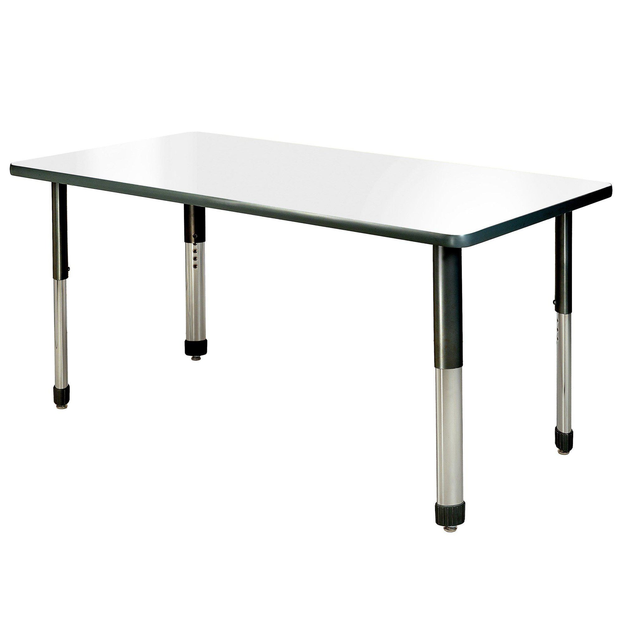 "Aero Dry Erase Activity Table, 24"" x 60"" Rectangle, Oval Adjustable Height Legs"