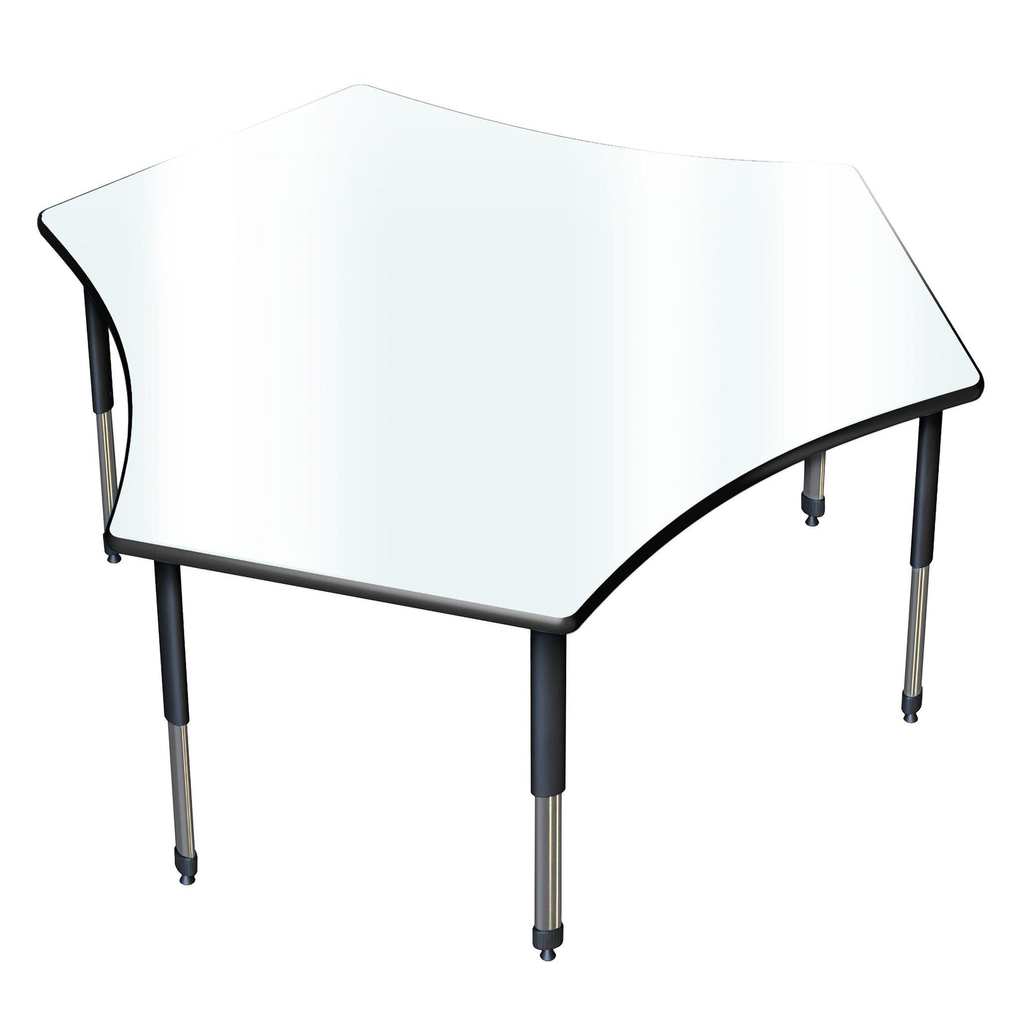 "Aero Dry Erase Activity Table, 60"" x 72"" Team, Oval Adjustable Height Legs"