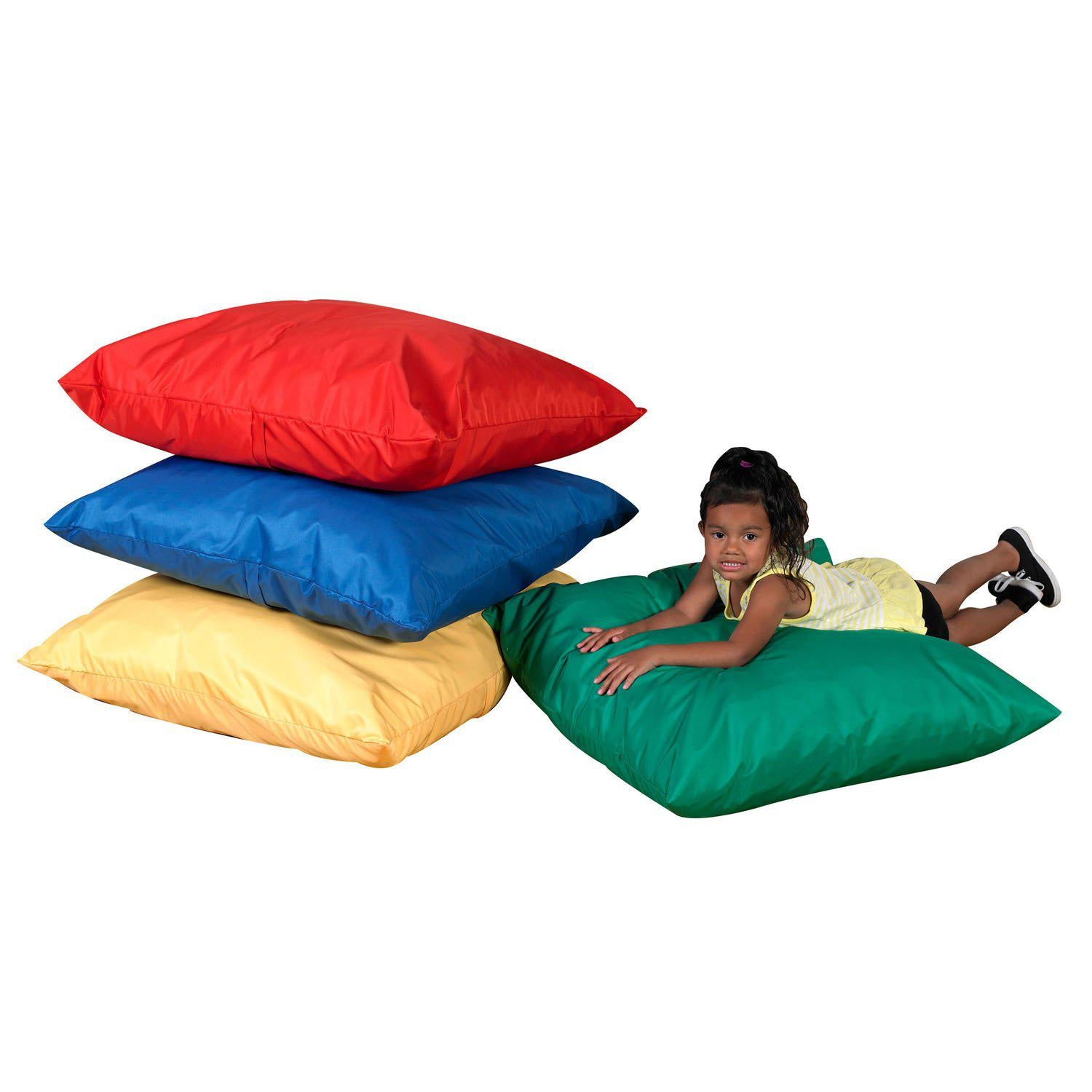 "27"" Cozy Floor Pillows - Primary Colors -  Set of 4"