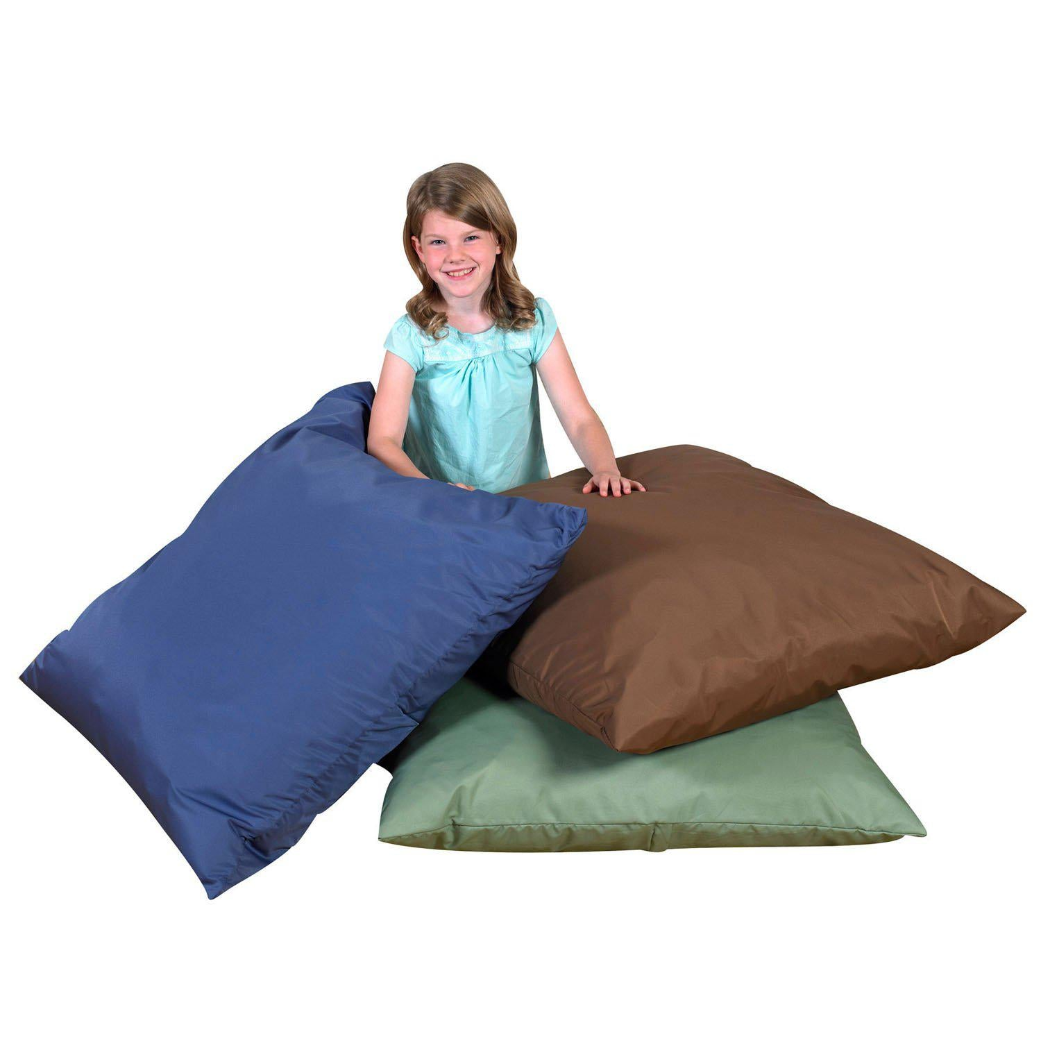 "27"" Cozy Floor Pillows - Dark Woodland Colors - Set of 3"