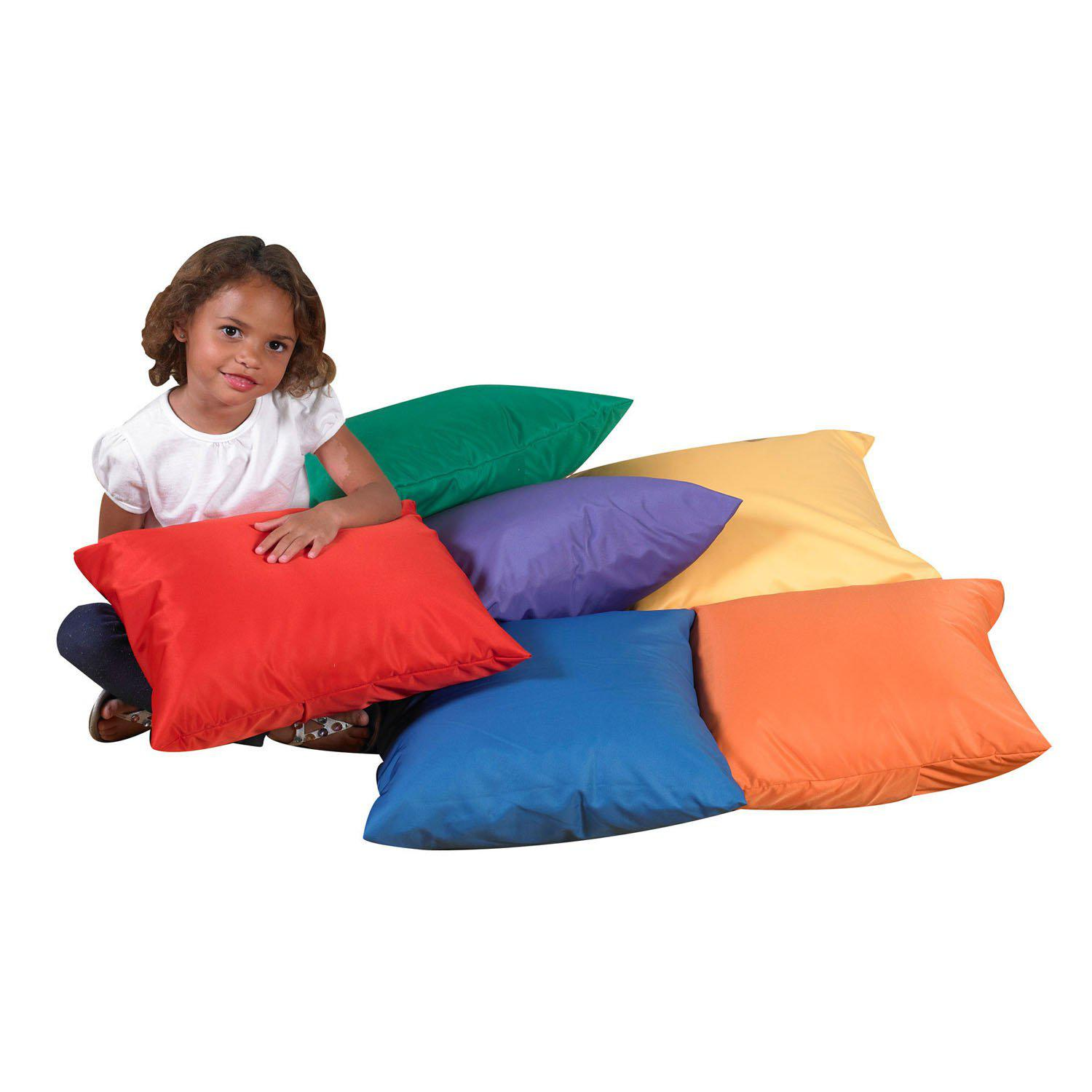 "17"" Cozy Pillows - Primary Colors - Set of 6"