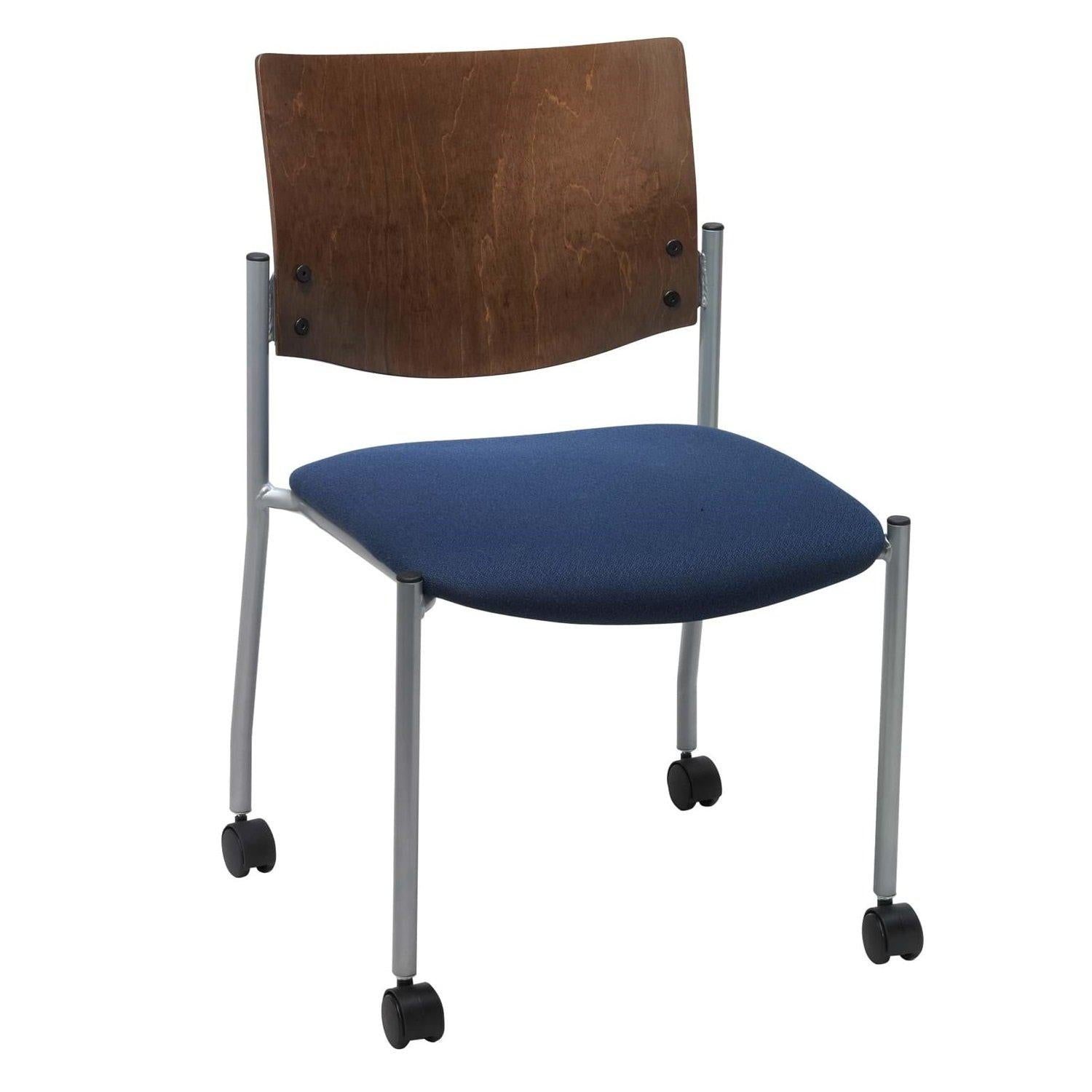 Evolve Chair with Casters, Wood Back, Padded Seat with Fabric Upholstery