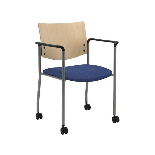 Evolve Chair with Arms and Casters, Wood Back, Padded Seat with Healthcare Vinyl Upholstery