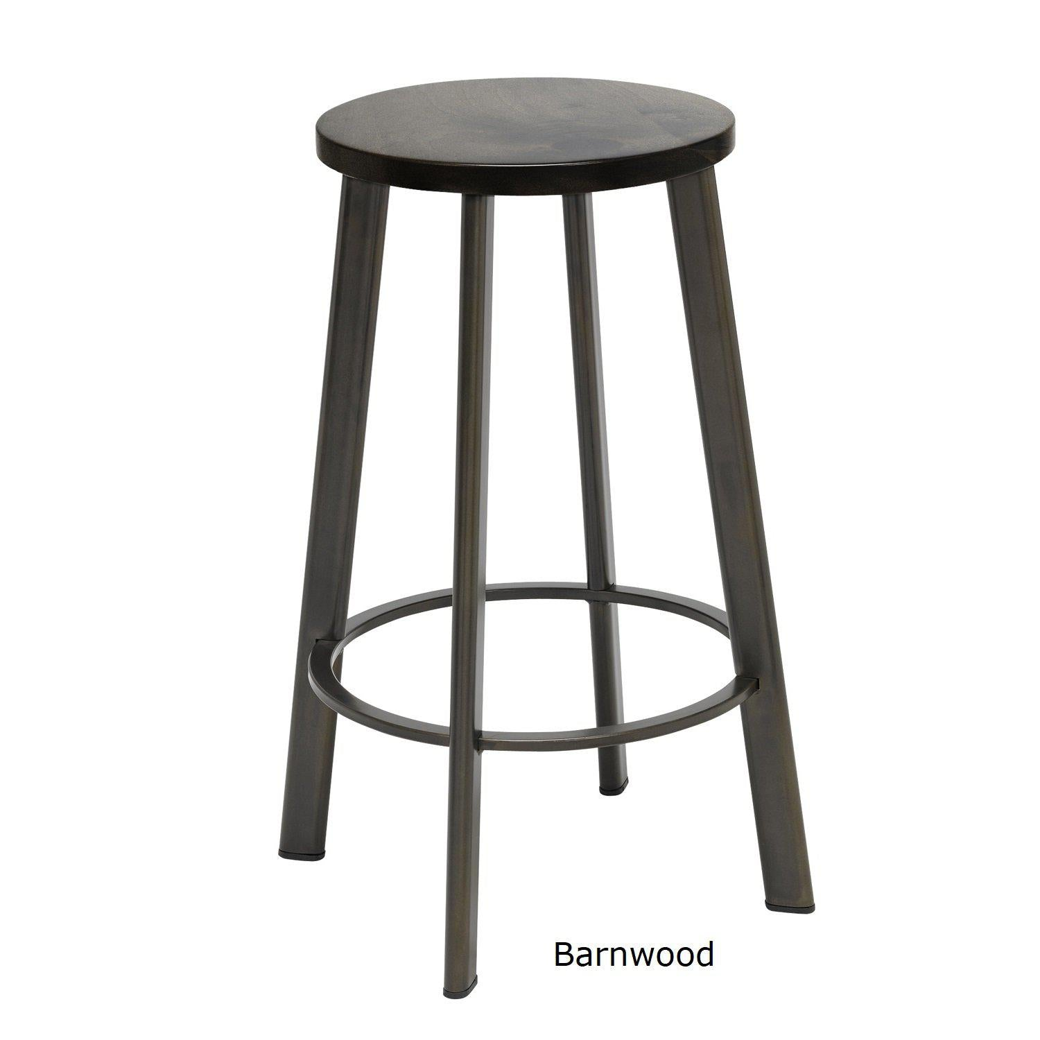 "Metro Stool, Natural Steel Frame, Wood Seat, Counter Height, 25""H"