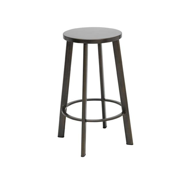 "Metro Stool, Natural Steel Frame, Steel Seat, Counter Height, 25""H"
