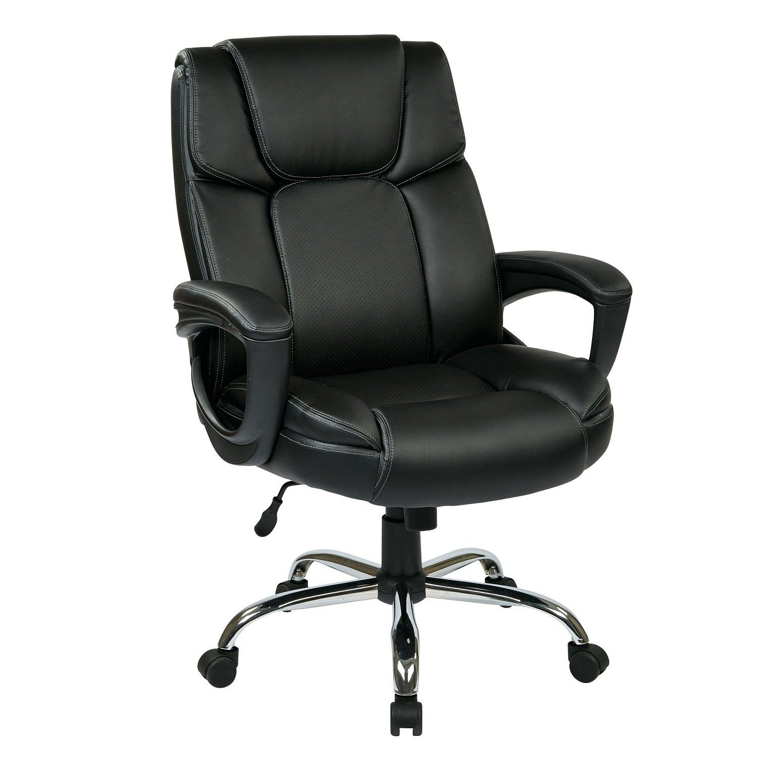 Executive Bonded Leather Big Man's Chair with Padded Loop Arms and Chrome Base