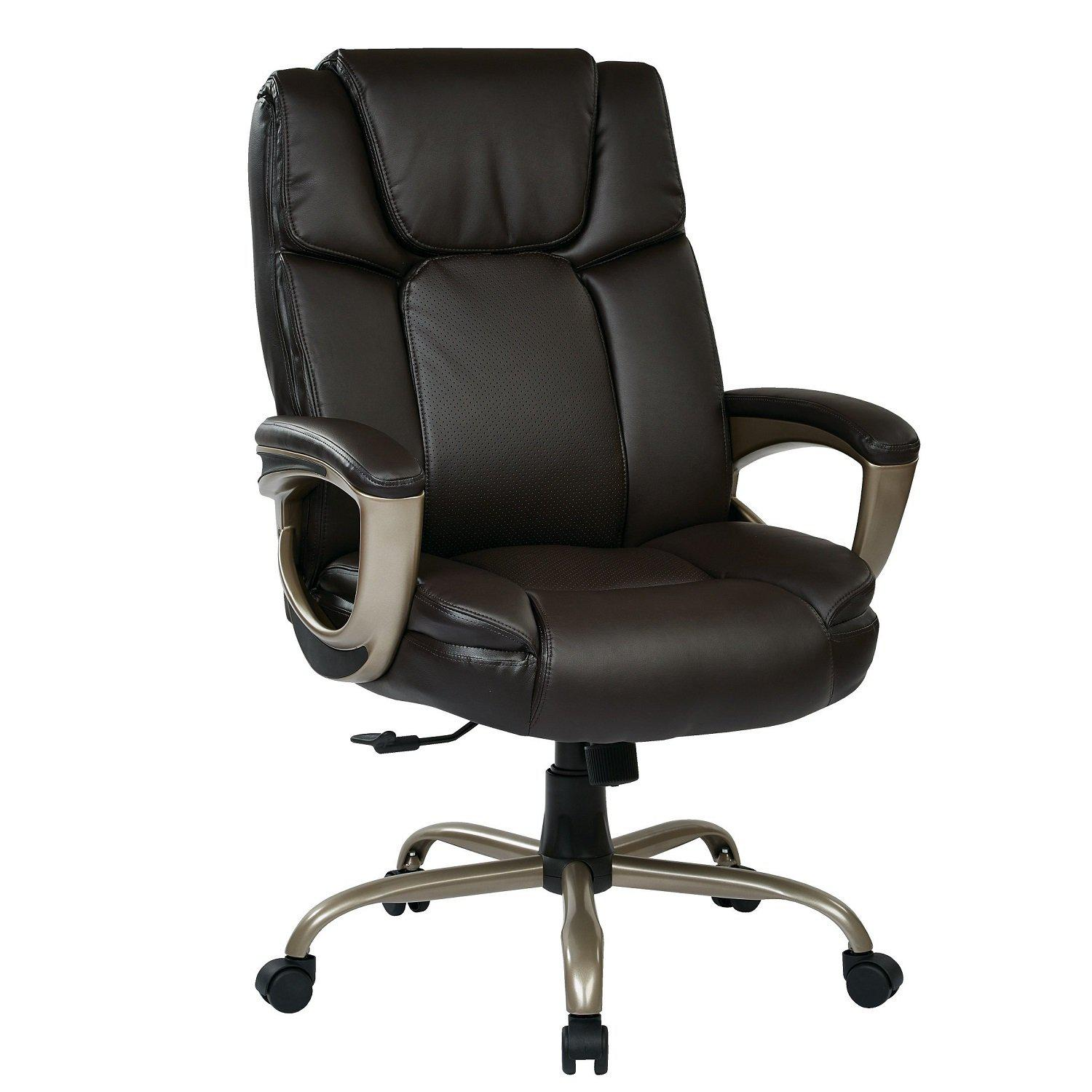 Executive Bonded Leather Big Man's Chair with Coated Padded Loop Arms and Cocoa Metal Base