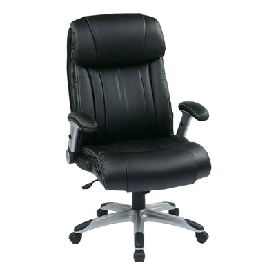 Executive Bonded Leather Chair with Adjustable Padded Flip Arms and Coated Nylon Base