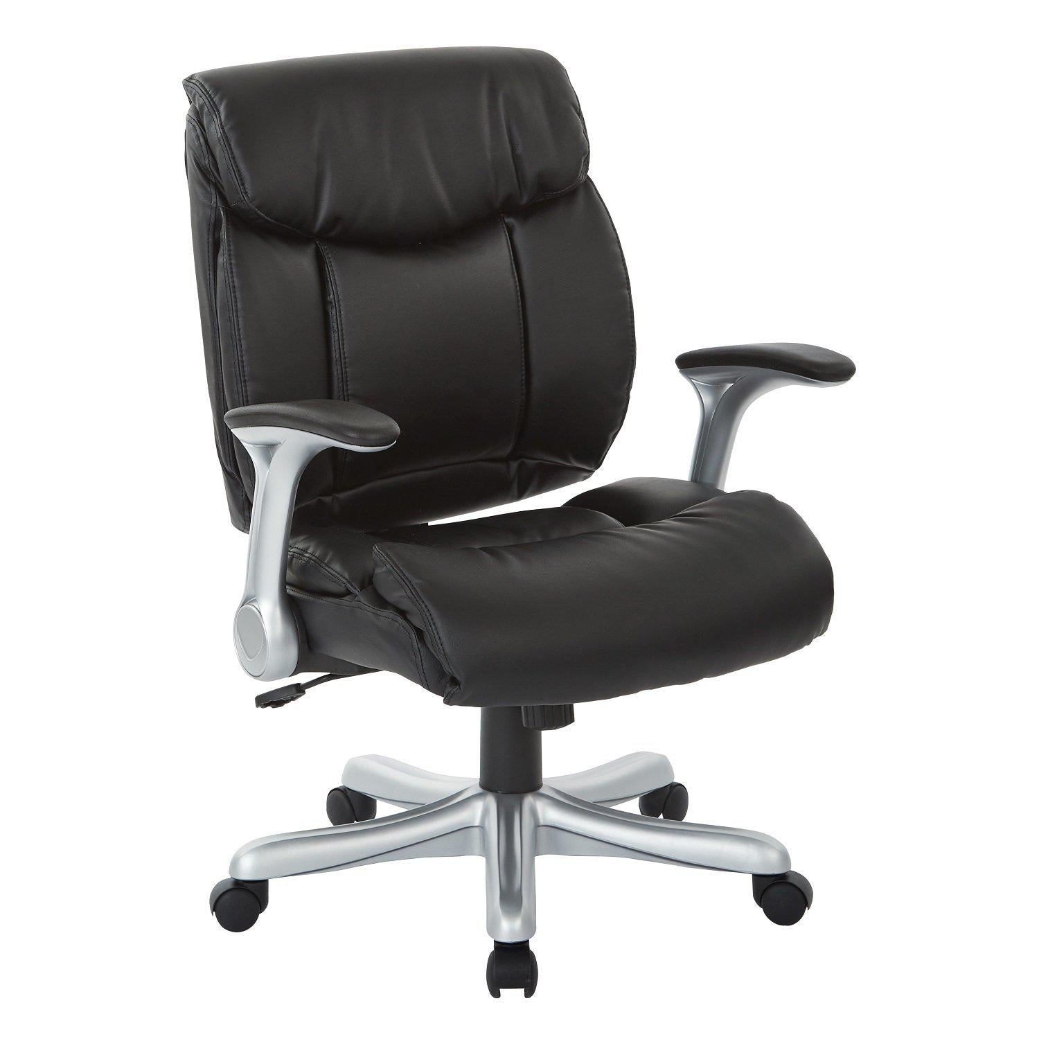 Executive Bonded Leather Chair with Padded Flip Arms