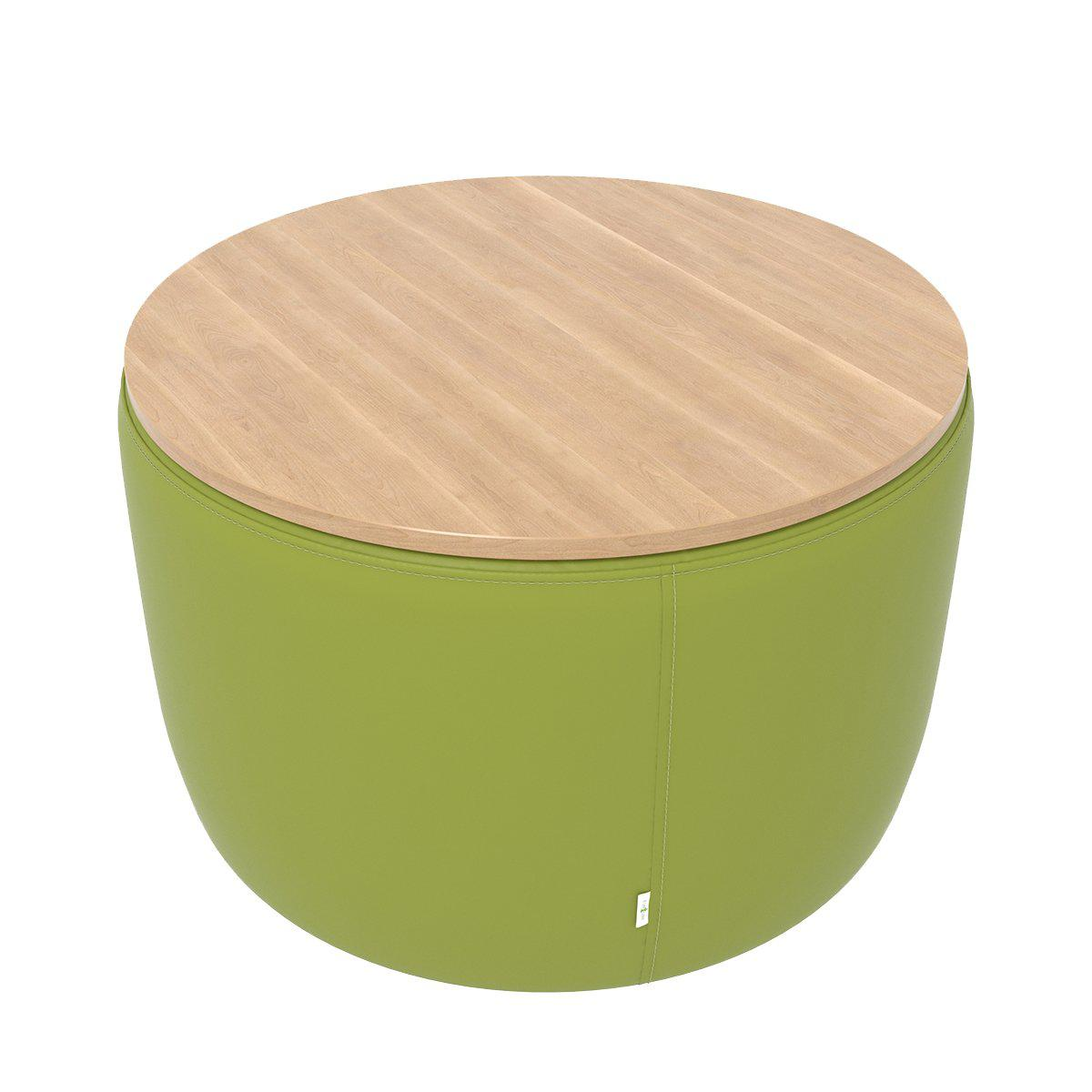 "Fomcore Ottoman Series 30"" Round Ottoman with 100% ALL-FOAM CORE, Antibacterial Vinyl Upholstered Side and Laminate Top, LIFETIME WARRANTY"