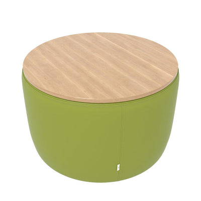 "Fomcore Ottoman Series 30"" Round Ottoman with 100% ALL-FOAM CORE, Patterned Vinyl Upholstered Sides, Laminate Top, LIFETIME WARRANTY"
