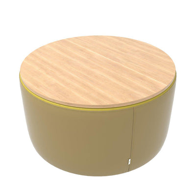 "Fomcore Ottoman Series 36"" Round Ottoman with 100% ALL-FOAM CORE, Patterned Vinyl Upholstered Sides, Laminate Top, LIFETIME WARRANTY"