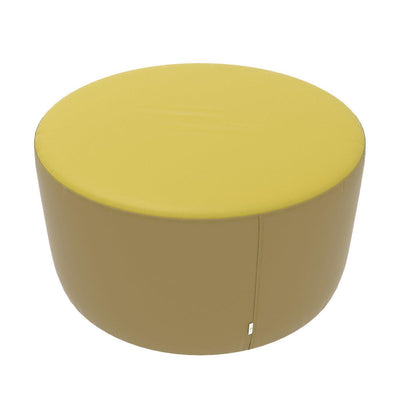 "Fomcore Ottoman Series 36"" Round Ottoman with 100% ALL-FOAM CORE, Antibacterial Vinyl Seat with Patterned Vinyl Sides, LIFETIME WARRANTY"