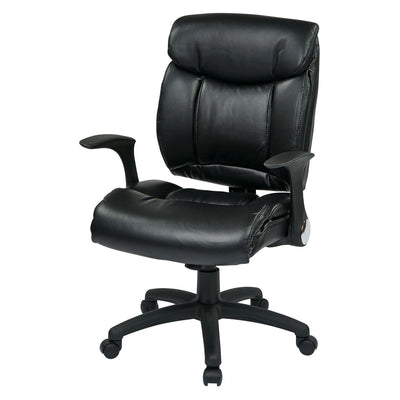Black Faux Leather Managers Chair with Flip Arms
