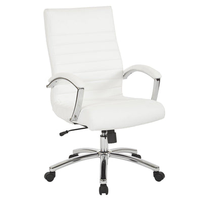 Executive Mid-Back Faux Leather Chair with Padded Arms and Chrome Finish Base