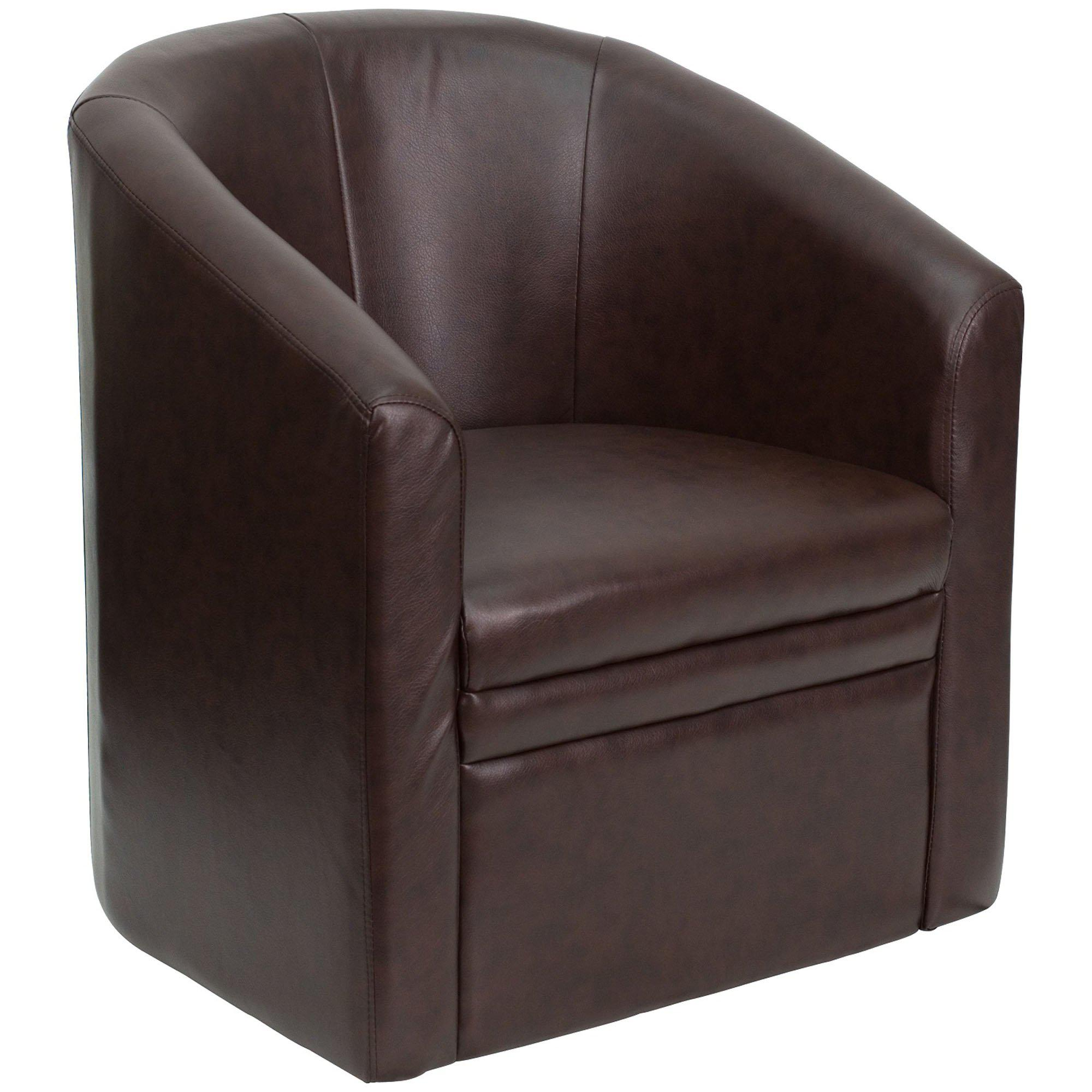 Nextgen Barrel-Shaped Guest Chair with Full Front Panel, Brown LeatherSoft  Upholstery