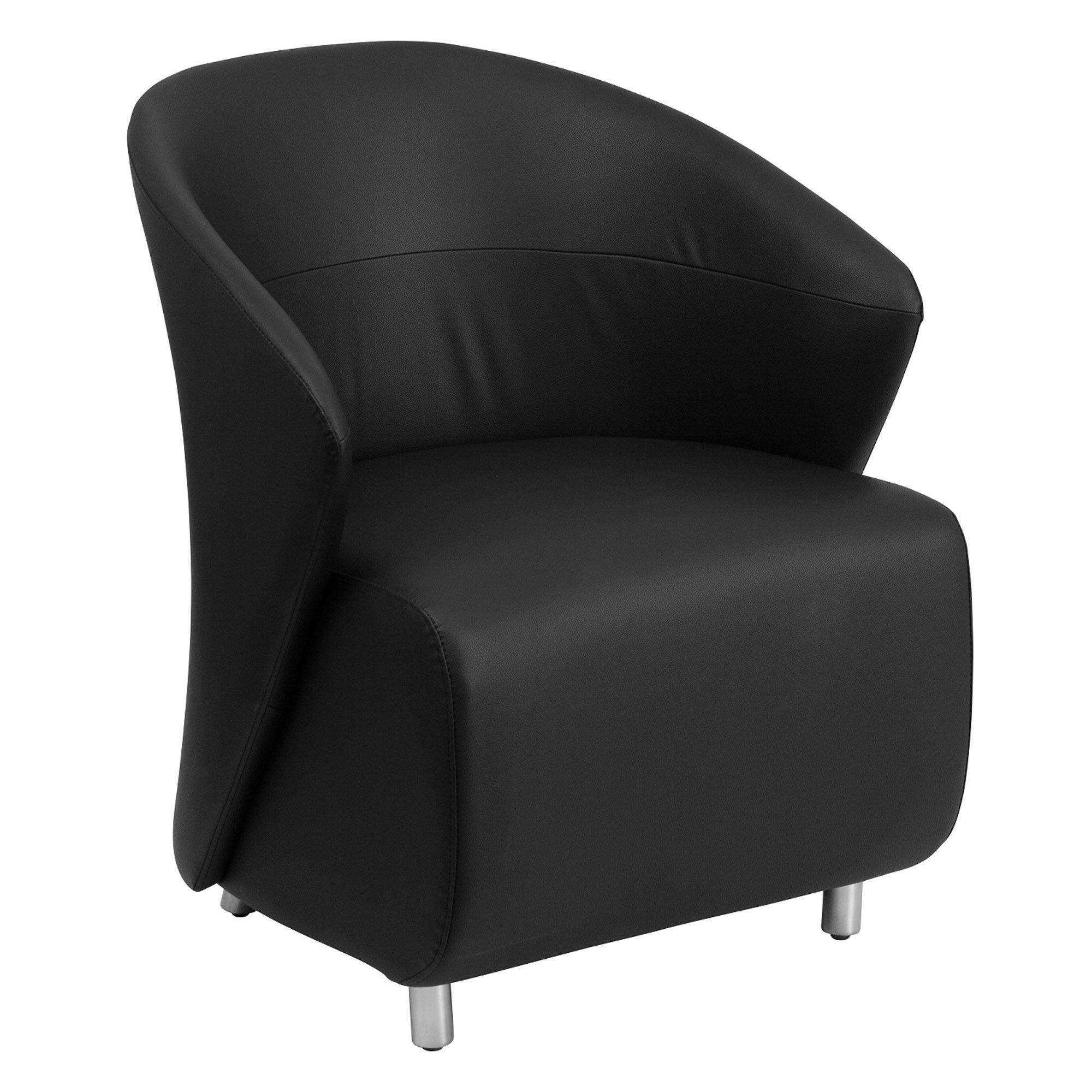 Nextgen Curved Barrel Back Reception/Lounge Chair, Black Leathersoft Upholstery