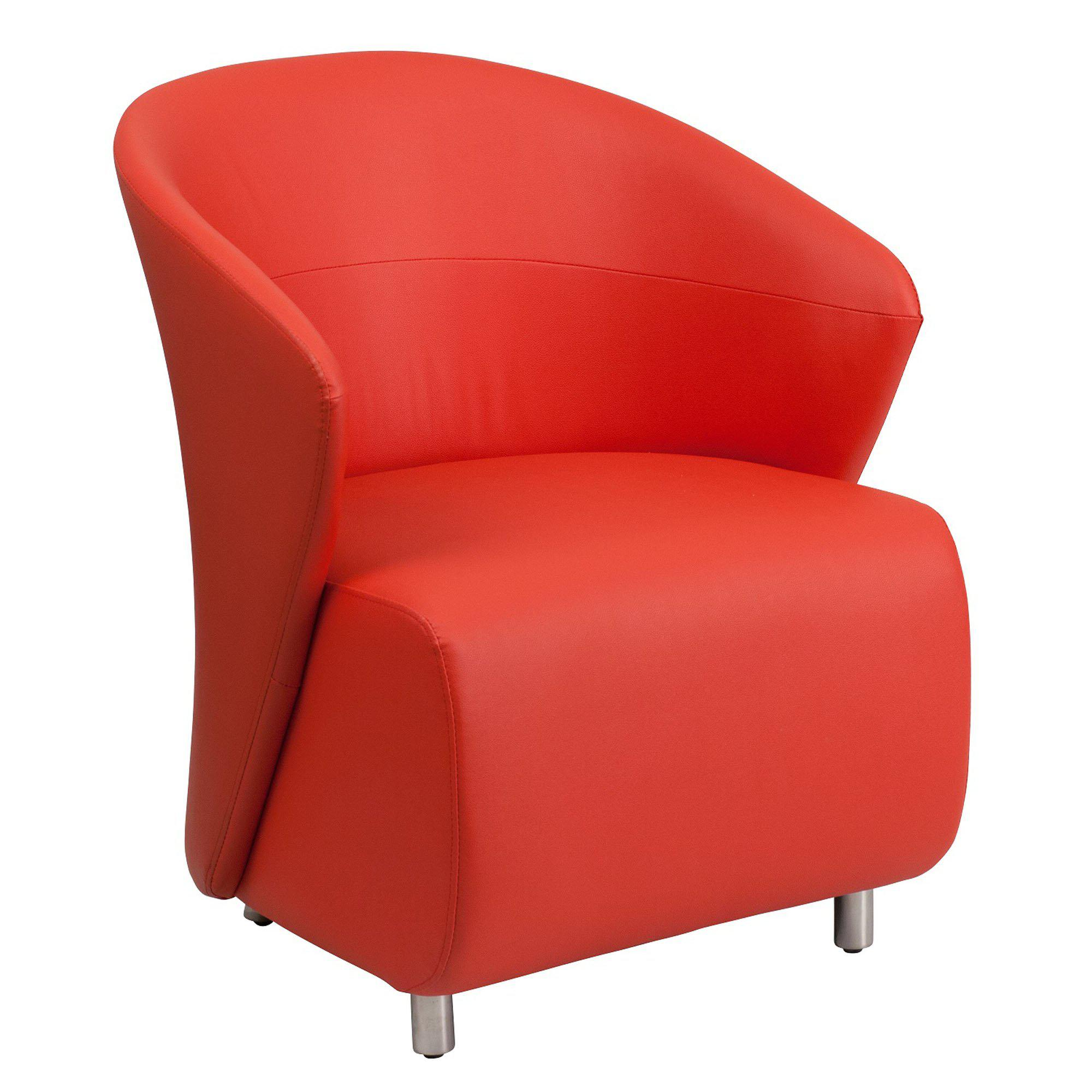 Nextgen Curved Barrel Back Reception/Lounge Chair, Red LeatherSoft Upholstery