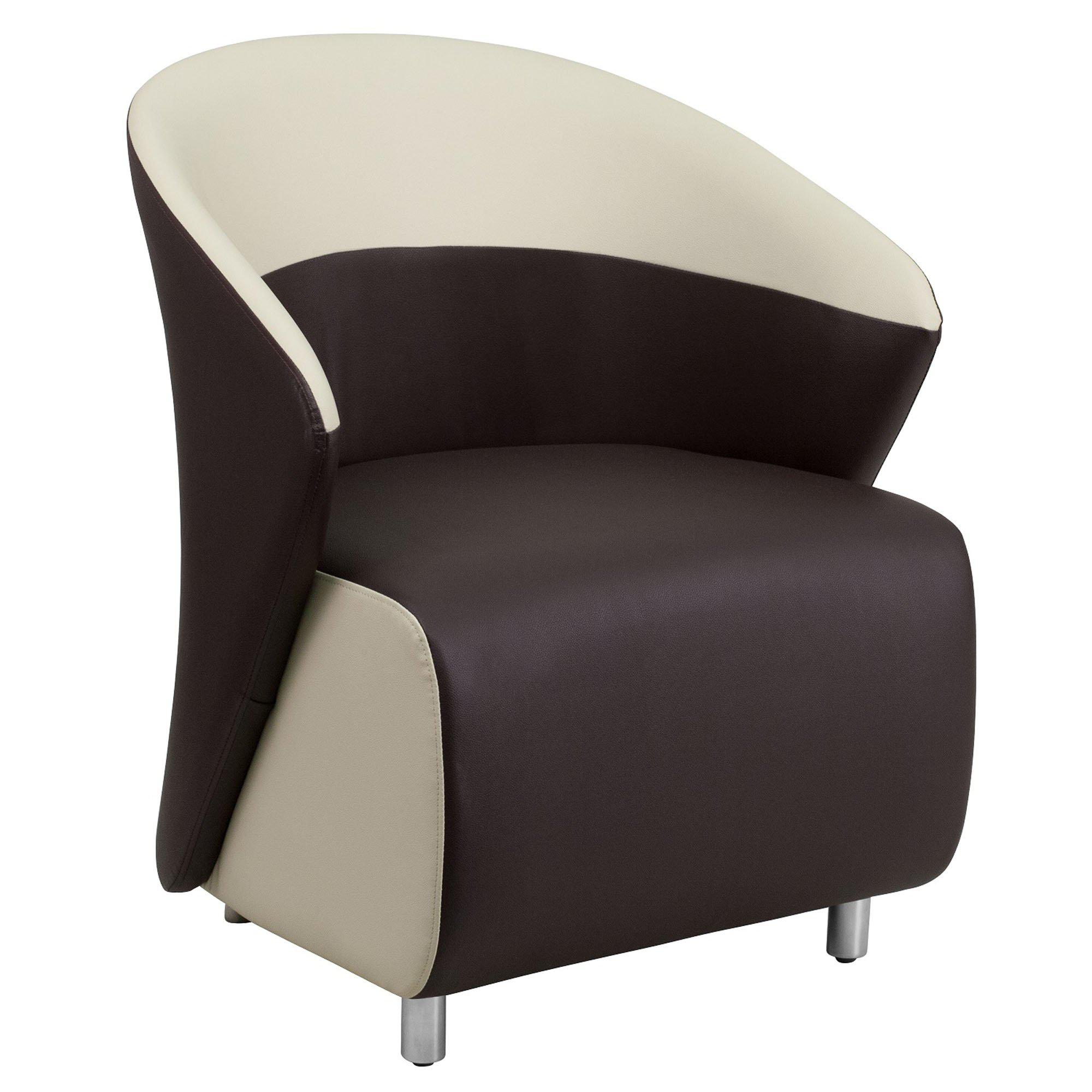 Nextgen Curved Barrel Back Lounge Chair, Dark Brown LeatherSoft Upholstery with Beige Detailing