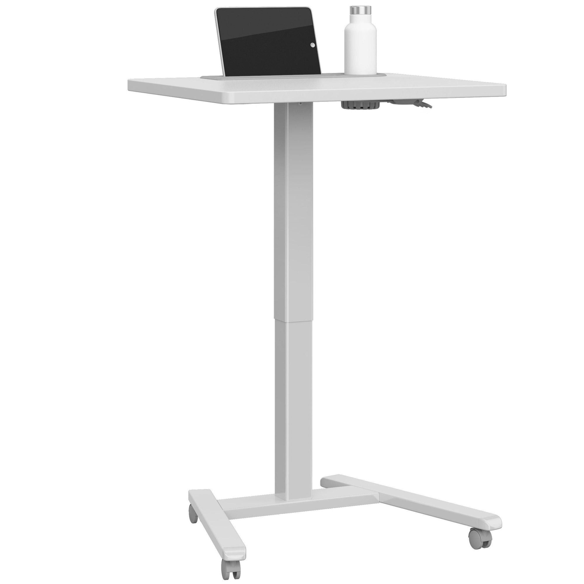 Fuzion Sit-to-Stand Mobile Student/Teacher Desk, Fog Gray Formica Laminate with Platinum Frame