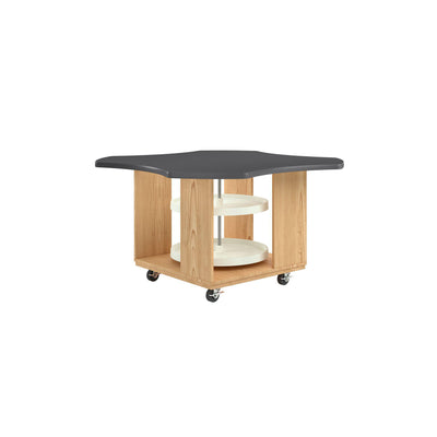 "Intermix Mobile Workbench with Laminate Top, Lazy Susan Cabinet, 30"" H, Oak Finish"