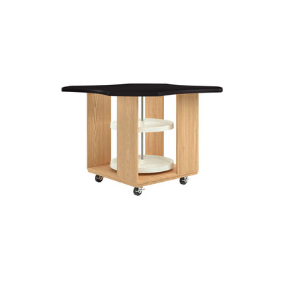 "Intermix Mobile Workbench with Laminate Top, Lazy Susan Cabinet, 36"" H, Oak Finish"