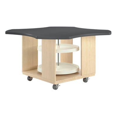 "Intermix Mobile Workbench with Laminate Top, Lazy Susan Cabinet, 30"" H, Maple Finish"