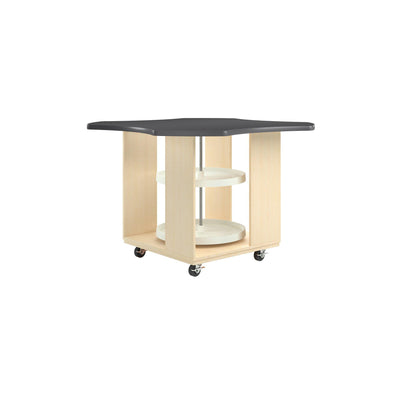 "Intermix Mobile Workbench with Laminate Top, Lazy Susan Cabinet, 36"" H, Maple Finish"