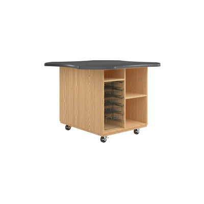 "Intermix Mobile Workbench with Laminate Top, Open Tote Cabinet, 36"" H, Oak Finish"