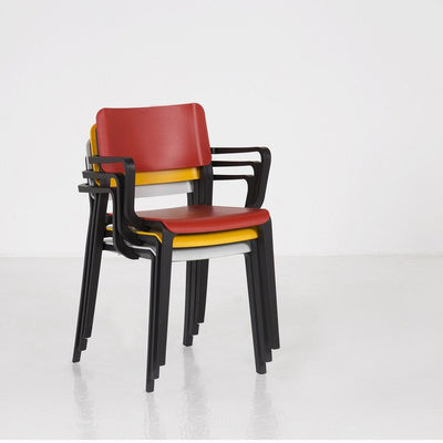 Mojo Stacking Arm Chair with Poly Seat and Back, Black Frame