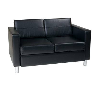 Pacific Loveseat with Chrome Finish Legs