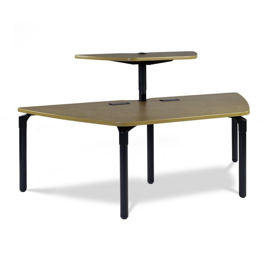 "Nextgen P-Series Library & Technology Table, 37""W x 84""L, Trapezoid, 29"" Fixed Height, Shelf"