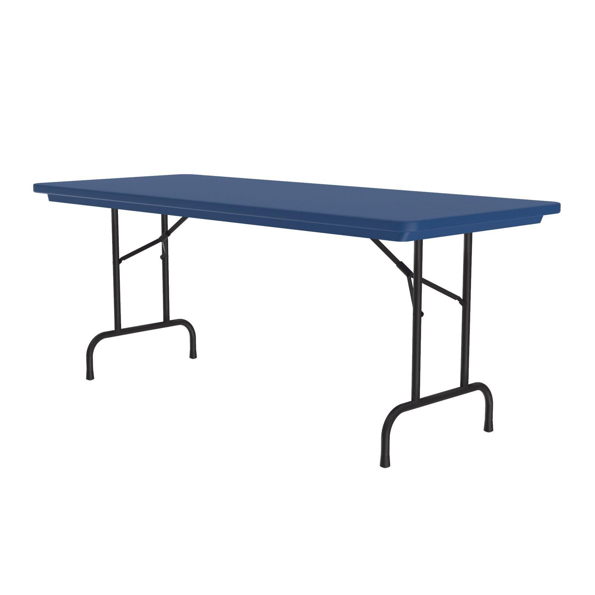 "Heavy Duty Commercial Use Blow Molded Folding Table, Primary Colors, Standard 29"" Fixed Height, 30 x 60"
