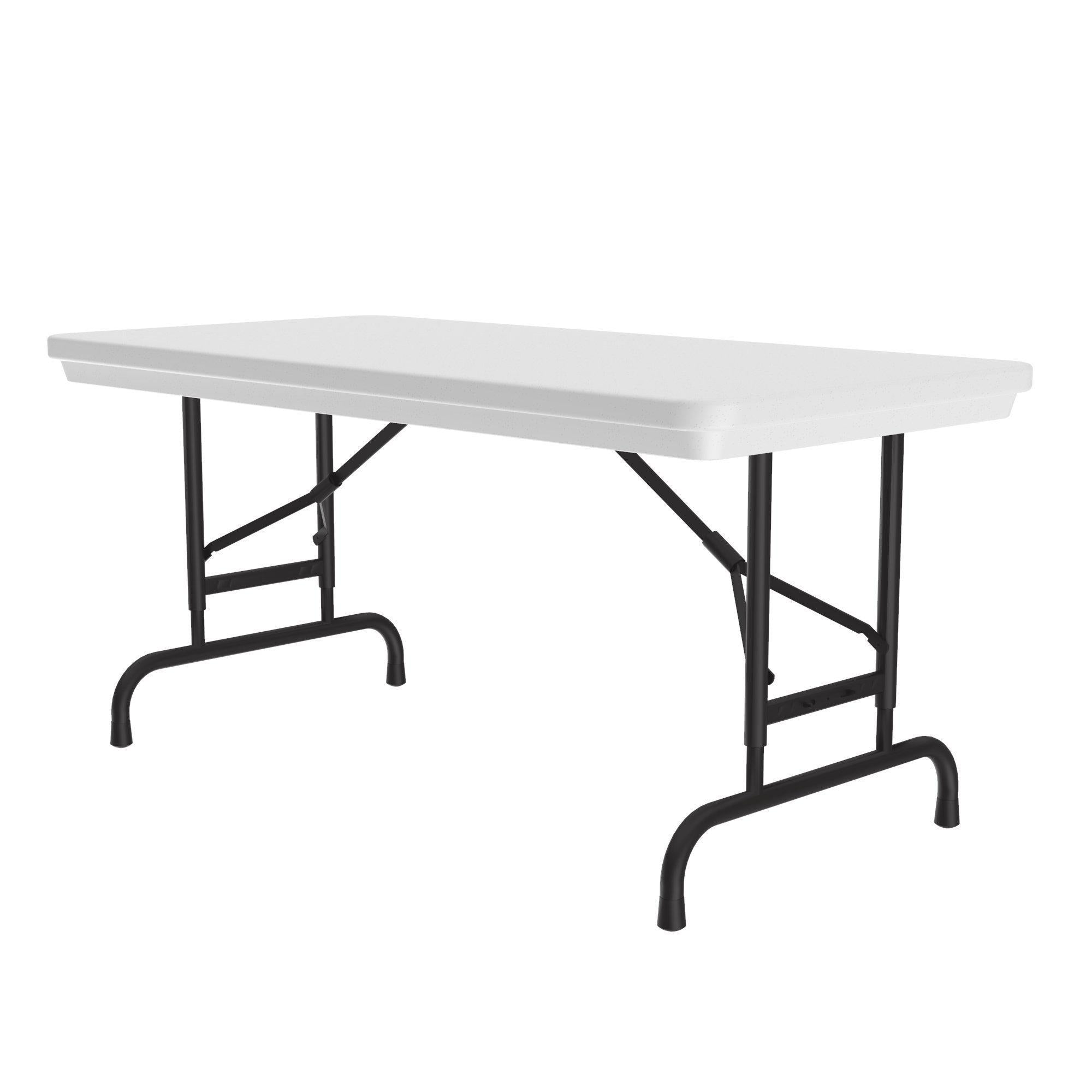 Heavy Duty Commercial Use Blow Molded Folding Table, Standard Colors, Adjustable Height, 24 x 48