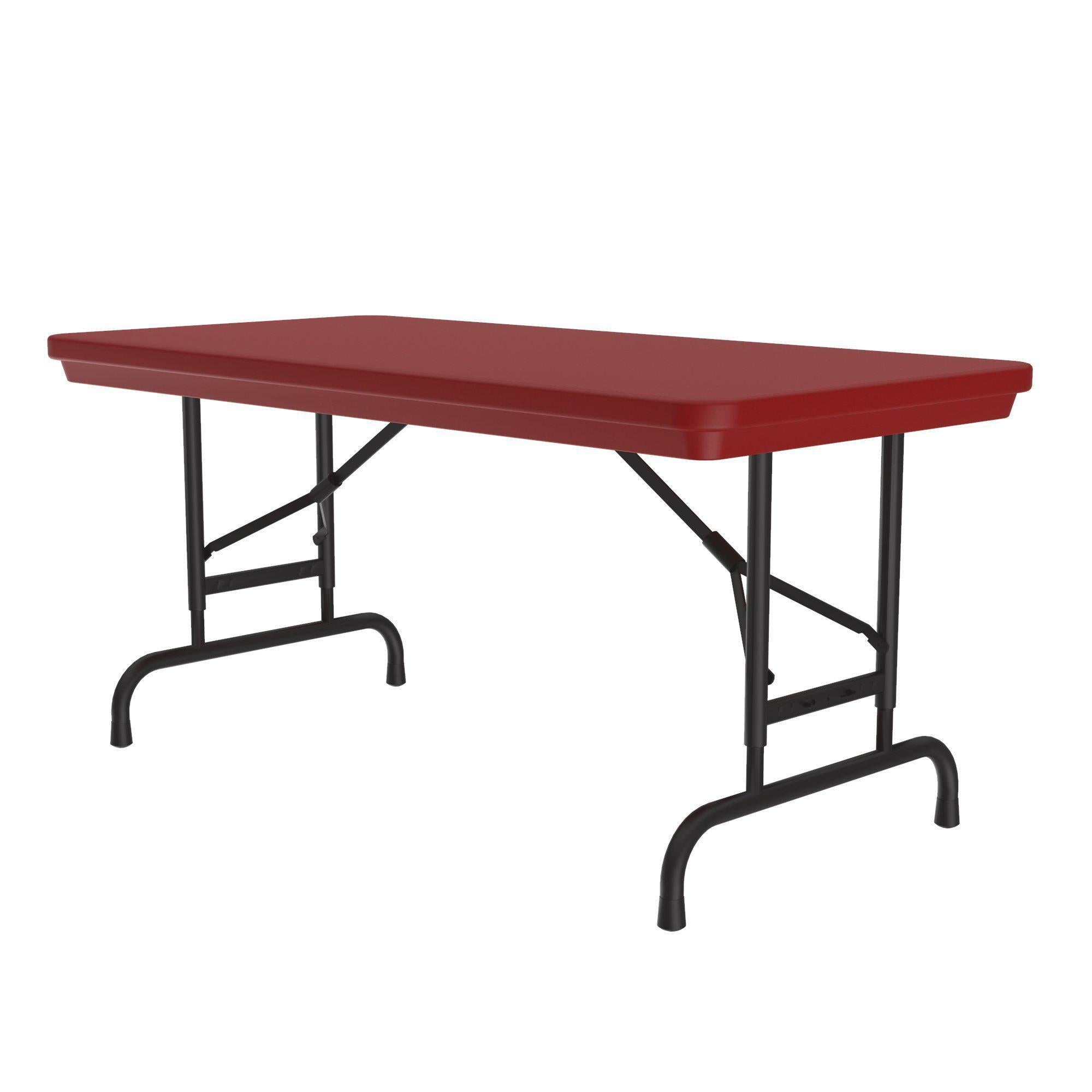 Heavy Duty Commercial Use Blow Molded Folding Table, Primary Colors, Adjustable Height, 24 x 48