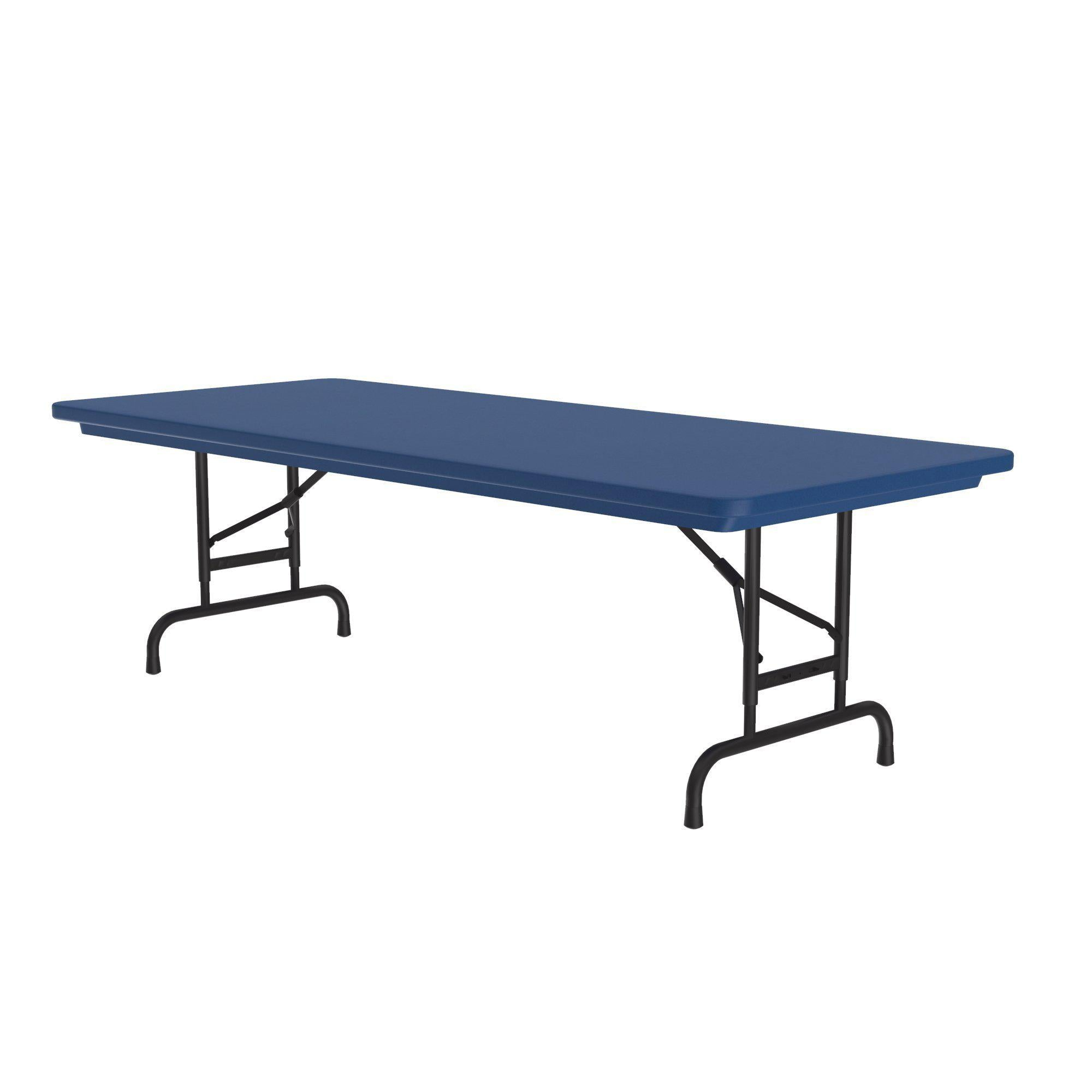 Heavy Duty Commercial Use Blow Molded Folding Table, Primary Colors, Adjustable Height, 30 x 60