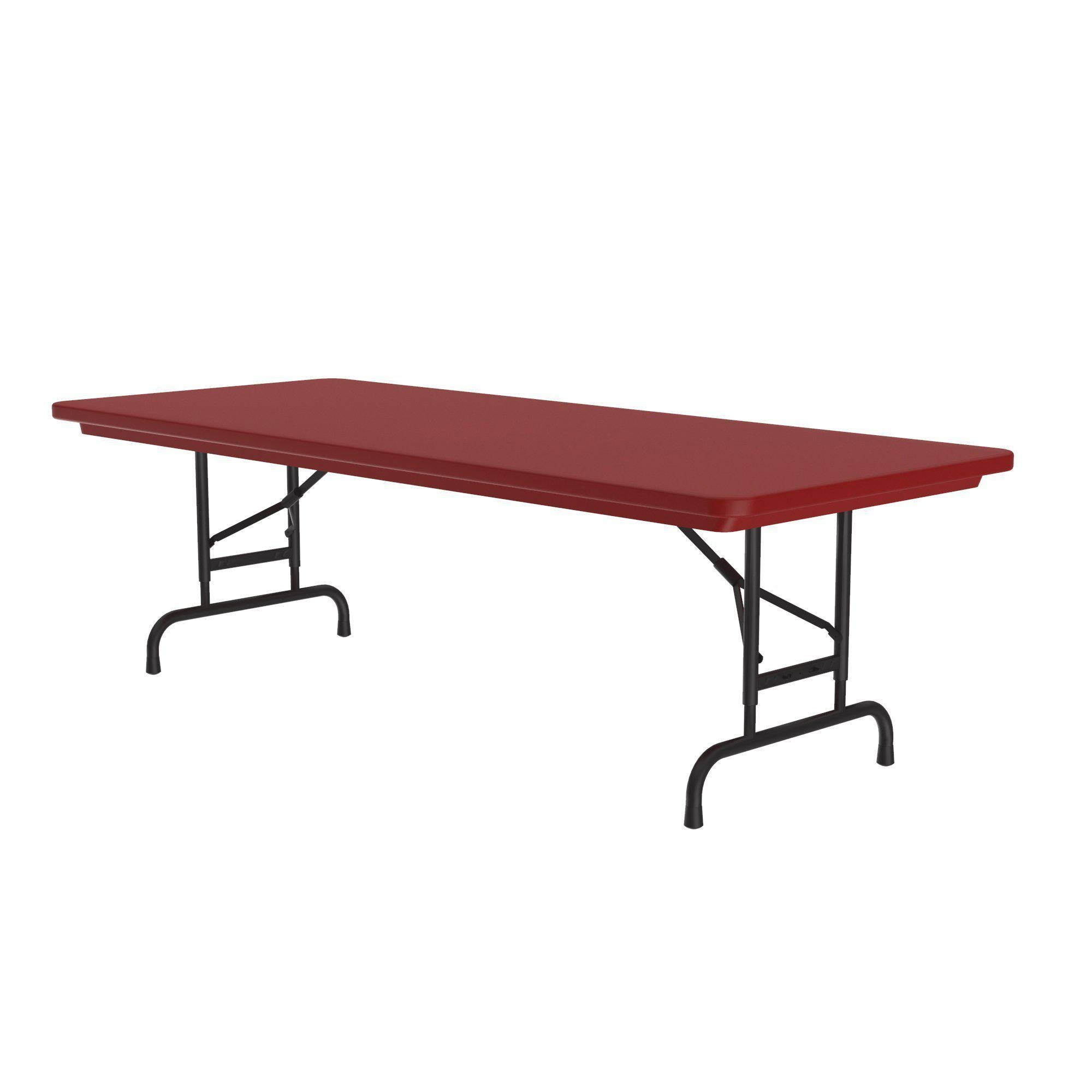 Heavy Duty Commercial Use Blow Molded Folding Table, Primary Colors, Adjustable Height, 30 x 72