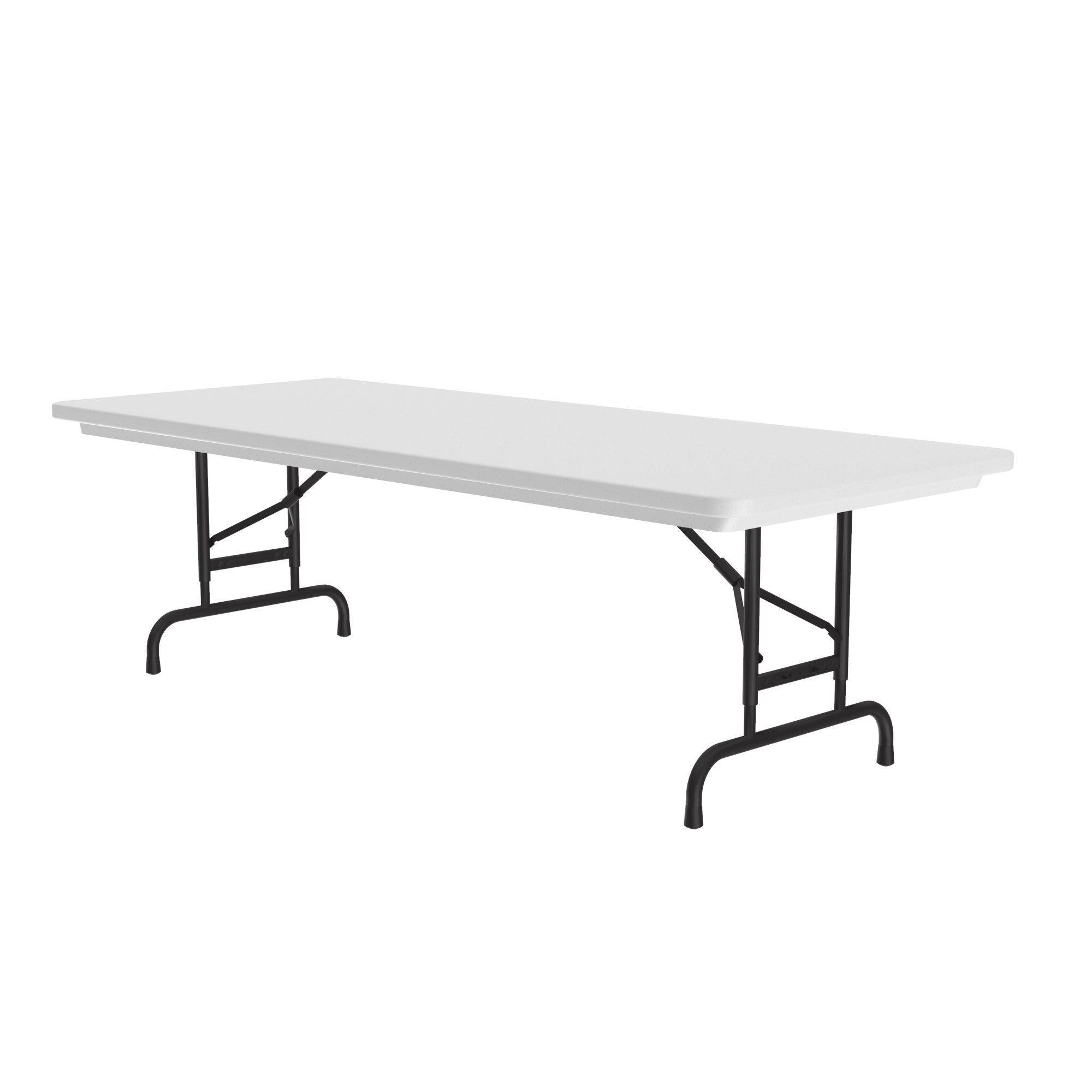 Heavy Duty Commercial Use Blow Molded Folding Table, Standard Colors, Adjustable Height, 30 x 96