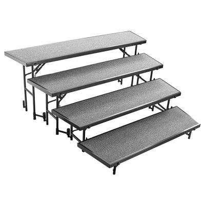 "Multi-Level Tapered Standing Choral Risers, 18"" x 96"" Platforms"