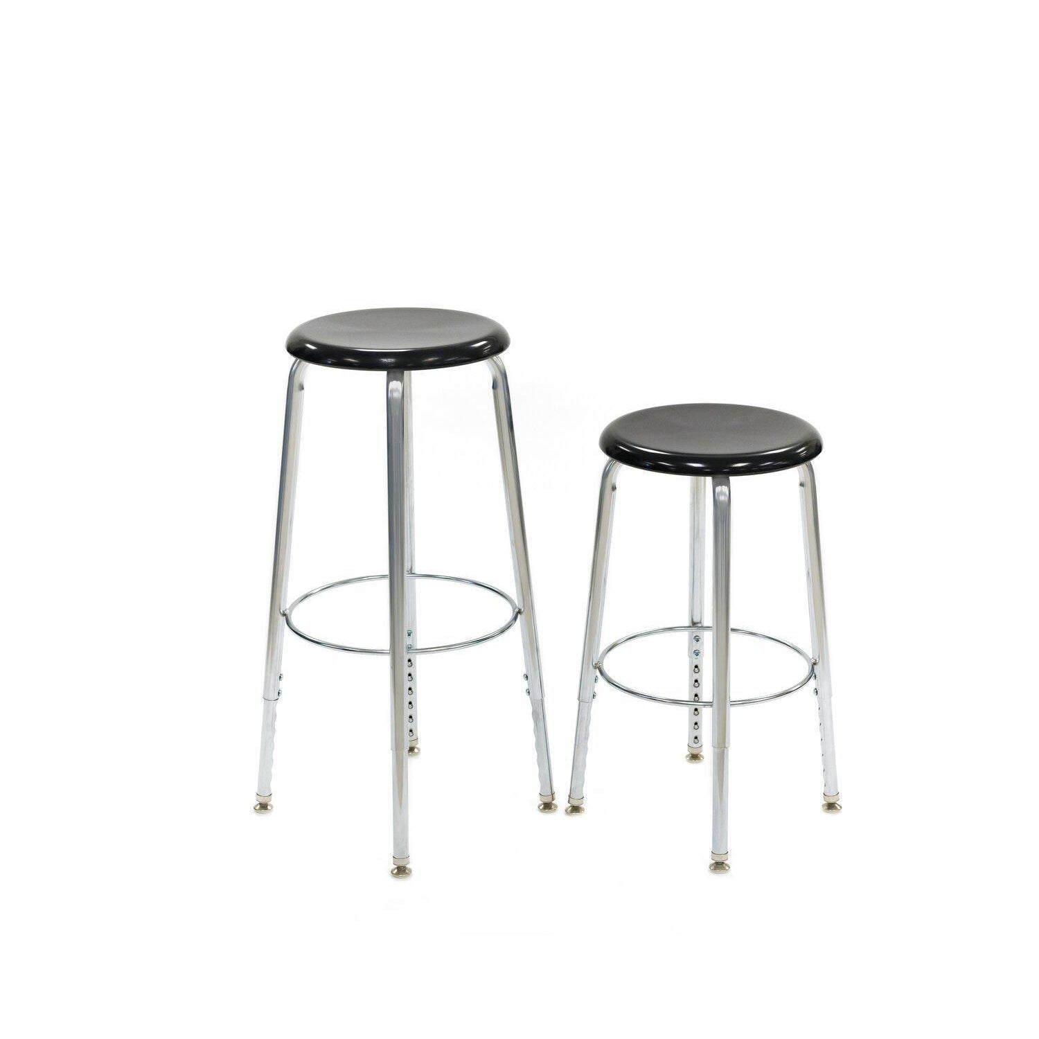 "Adjustable Height Stool with Solid Hard Plastic Seat, 24"" - 30"" H - QUICK SHIP"